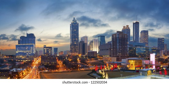 City of Atlanta. Panoramic image of the Atlanta skyline during sunrise.