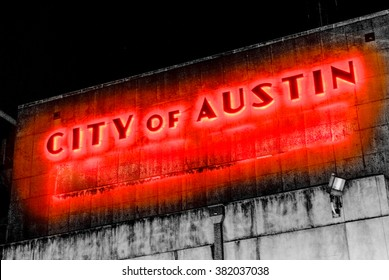 City of Austin Keep Austin Weird Power Station Red Neon Glowing Light Urban Industrial