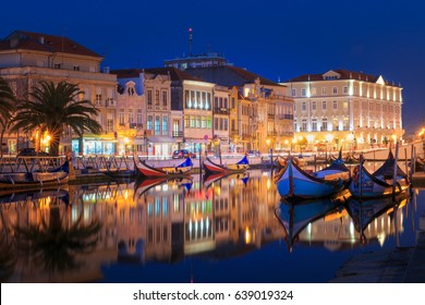 City of Aveiro in the north of Portugal with the water canals by night