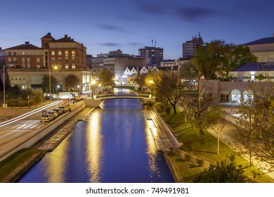 City of Aveiro in Portugal by night with the famous water channels