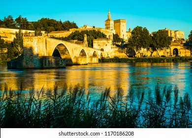 The city of Avignon at Sunset with Popes Palace in France