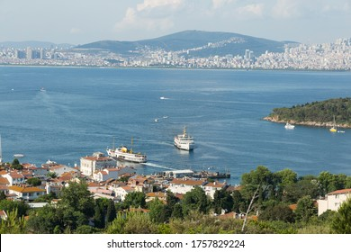 A city away from the island appears. princess islands from istanbul
