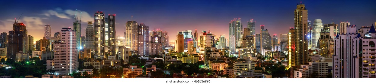 City of Bangkok, Sukhumvit skyline night shot panorama
