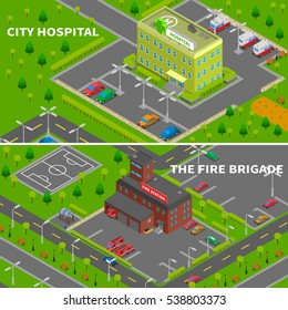 City constructor banners collection of hospital and fire station isometric top view concepts  illustration