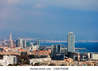 City of Barcelona aerial view cityscape and downtown skyline, Catalonia, Spain