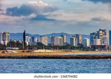 City of Barcelona skyline from the sea in Catalonia, Spain