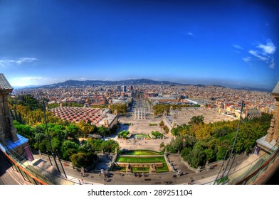 The city of Barcelona through a fisheye in HDR as can be seen from Montjuic