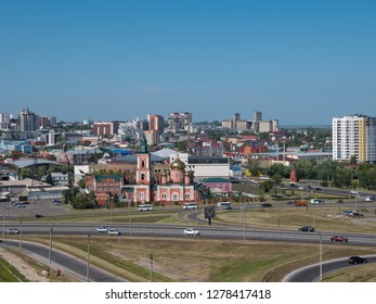 The city Barnaul view of the city and church, Altai, Russia