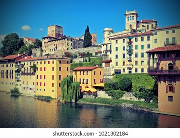 city of Bassano City in Italy and the Brenta river