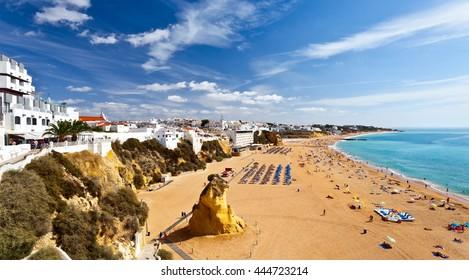 City beach Albufeira sunny September day, Algarve, Portugal