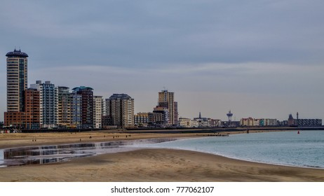 City beach and huge apartment and hotel blocks in the city of Vlissingen, Zeeland, Holland/Netherlands