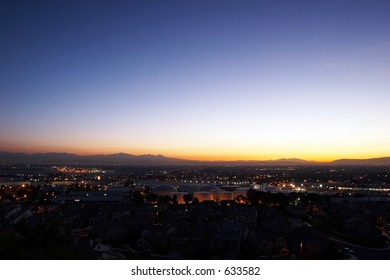 City before sunrise with some residential and industrial building