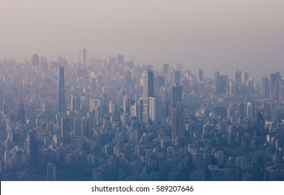 City of Beirut aerial view. Modern city background.