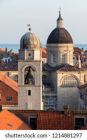City Bell Tower and the Cathedral of the Assumption in Dubrovnik, Croatia