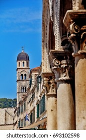 City Bell Tower, the tower marking the eastern end of the main drag (Strada), the slender dome-capped tower has a two-tonne bell and a large curvy clockface, Dubrovnik, Croatia