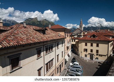 City of Belluno, province of Belluno, region of Veneto, Eastern Dolomites, northern Italy - August 22, 2007: Red rooftops and chimneys as seen from a hotel in the center of town