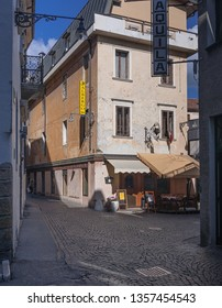 City of Belluno, Province of Belluno, Veneto region, Eastern Dolomites, northern Italy - August 22, 2007: Town street view