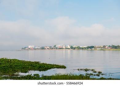 The city beside Phayao lake in winter season, Thailand.