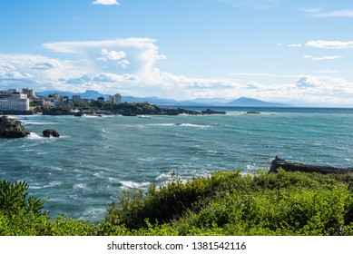 City of Biarritz and the ocean. Basque country of France.