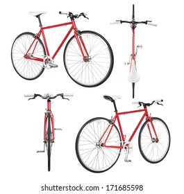 City bicycle fixed gear from four view isolated on white