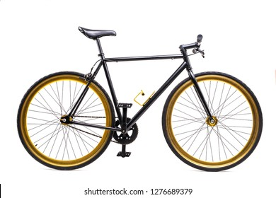City bicycle fixed gear isolated on white background
