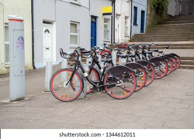 City bicycles in  the street of Cork. Ireland.