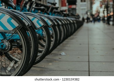 City Bikes on a Busy Street