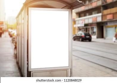 City billboard mockup on bus station.