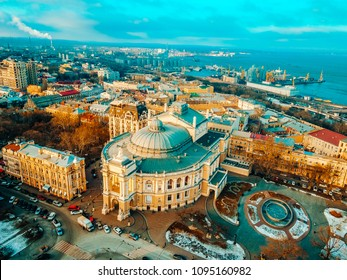 City from a bird's-eye view, roofs of Odessa from air
