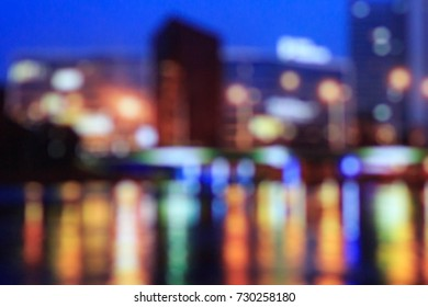 City blurred bokeh lights night view, abstract background