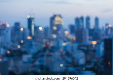 City blurred lights background after sunset