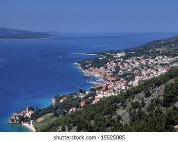 City of Bol on the island of Brac on the Adriatic coast in Croatia. One of the most popular tourist places. Famous for its long beach Golden horn and always windy conditions perfect for windsurfing.