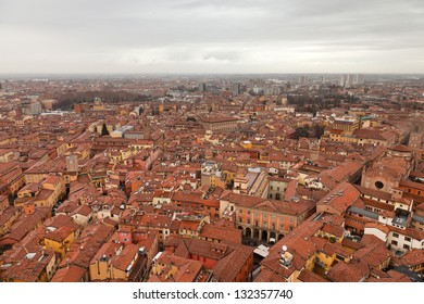 City of Bologna birds view. Rooftops. Italy. Europe.
