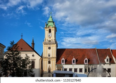 City of Bratislava in Slovakia, Town Hall and Jesuit Church in the Old Town