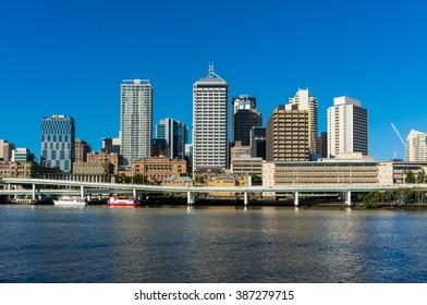 City of Brisbane, Australia. View from river. Modern skyscrapers of Brisbane city