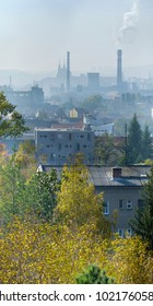 City of Brno in haze