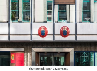 City of Brussels / Belgium - 02 15 2019: Embassy facade with closeup of the sign of the premanent representation of Danmark for the European Union.