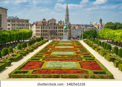 City of Brussels skyline in summer day. Cityscape view from Kunstberg, Mont des Arts to city hall and central old town. Belgium, Europe