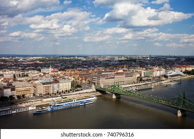 City of Budapest in Hungary aerial view cityscape, Pest Side, Liberty Bridge on Danube River