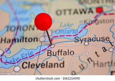 City of Buffalo marked on map - New York