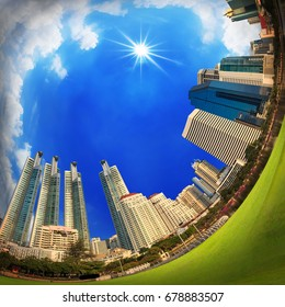 City building in blue sky with the sun,360 angle
