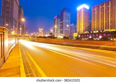 City building street scene and road of night scene in wuhan