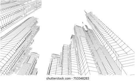 city buildings 3d illustration