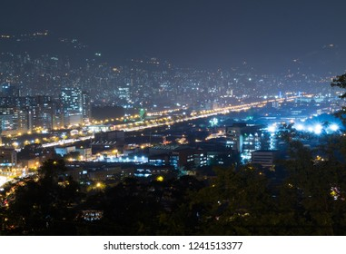 city and buildings with lights