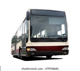 City bus isolated on white background. Empty public bus, front view. Public transport. Modern bus for urban mass transportation
