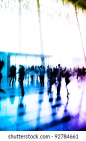 city business people crowd abstract background blur motion