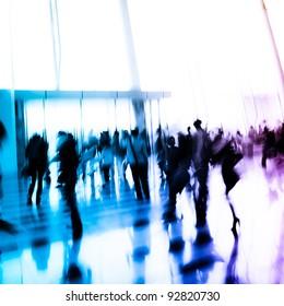 city business person crowd blur motion