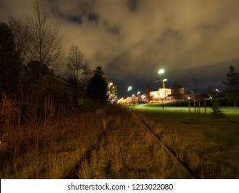 City by night, Oulu Finlan, Old train station