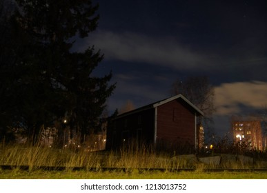 City by night, Oulu, Finland, old train station