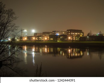 City by night, Oulu Finland, Toppilansalmi